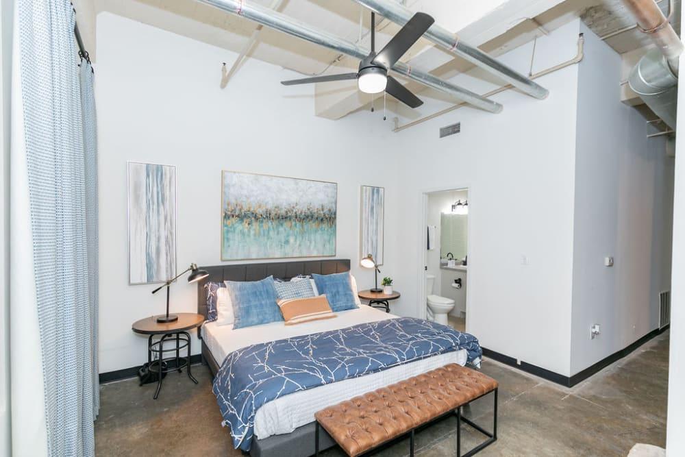 Model bedroom at Lofts at Riverwalk in Columbus, Georgia