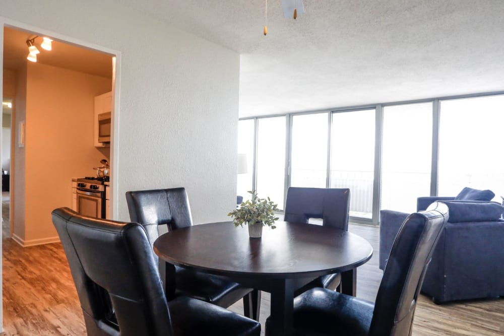 Dining area next to the kitchen and living room at Hague Towers in Norfolk, Virginia