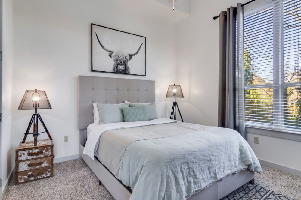 Model bedroom at 12 South Apartments in Nashville, Tennessee