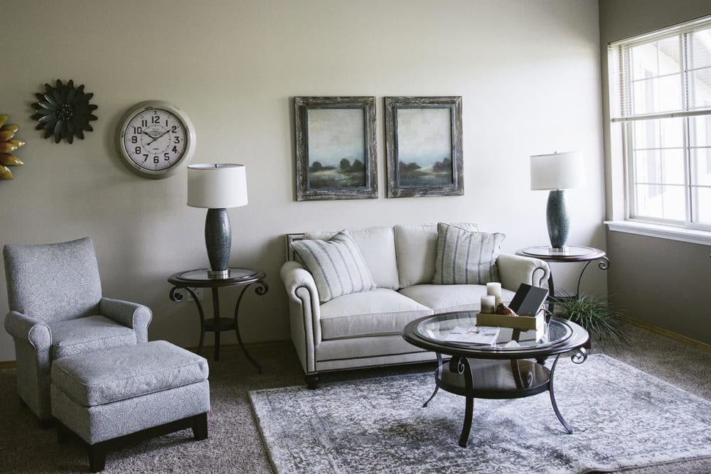 Upscale living room at The Springs at Whitefish in Whitefish, Montana