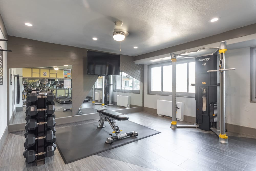 Full sized fitness center for residents at Pembroke Towers in Norfolk, Virginia