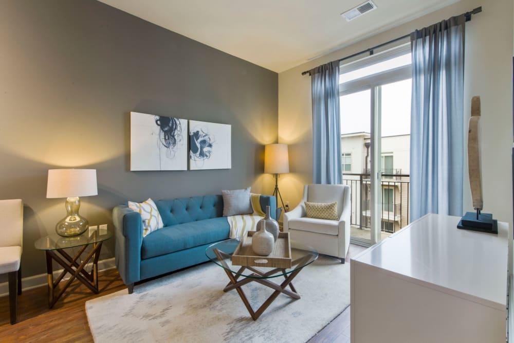 Model living room at 401 Oberlin in Raleigh, North Carolina