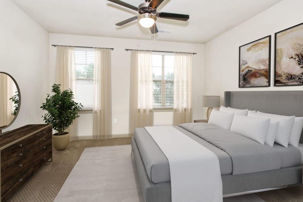 Model bedroom at 401 Oberlin in Raleigh, North Carolina