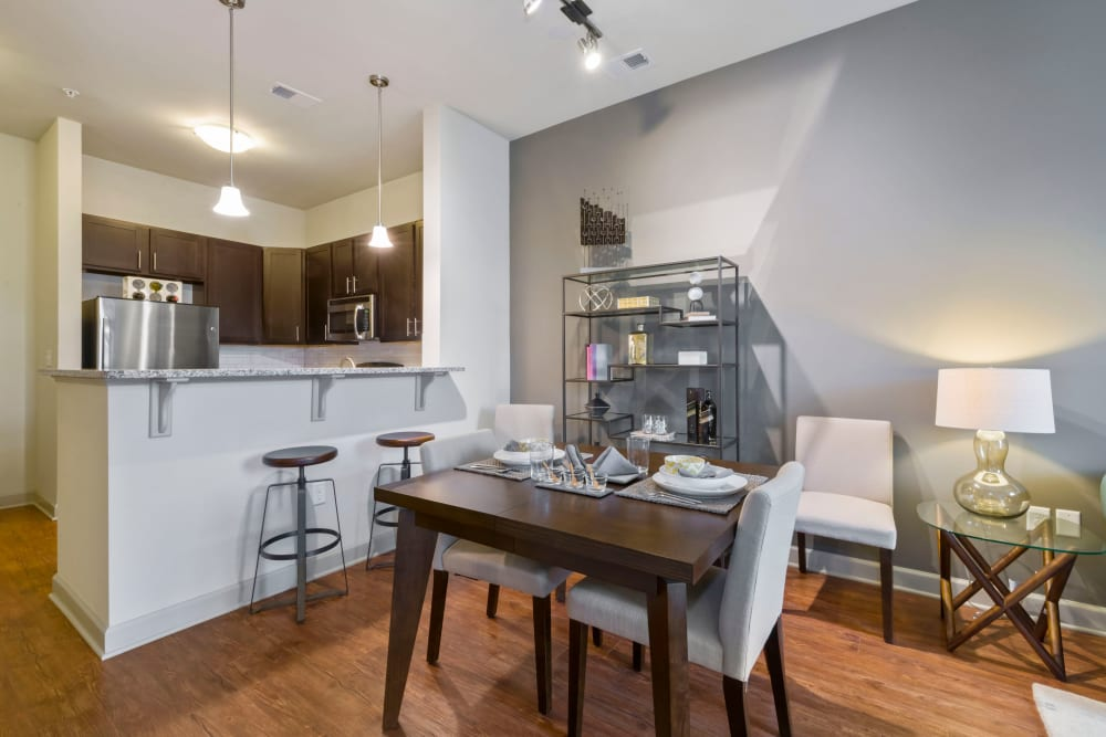 Model dining area at 401 Oberlin in Raleigh, North Carolina