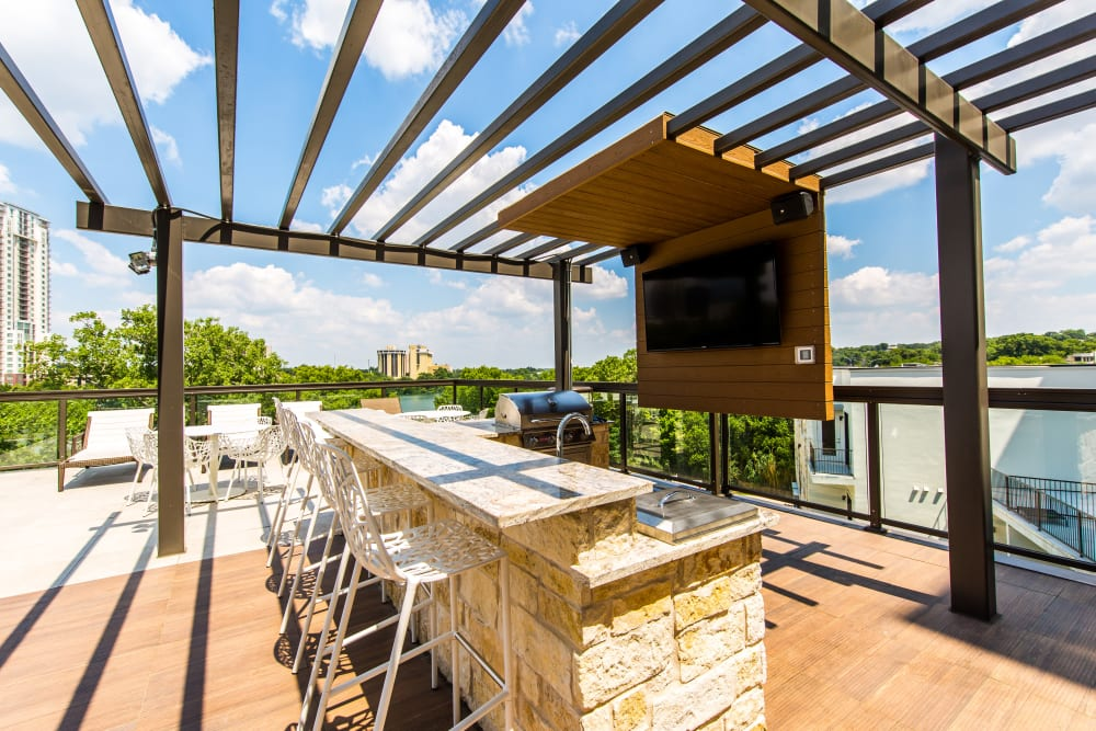 Outdoor grilling station at Water Marq in Austin, Texas