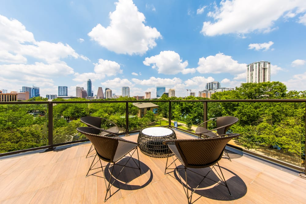 Outdoor patio with a view at Water Marq in Austin, Texas