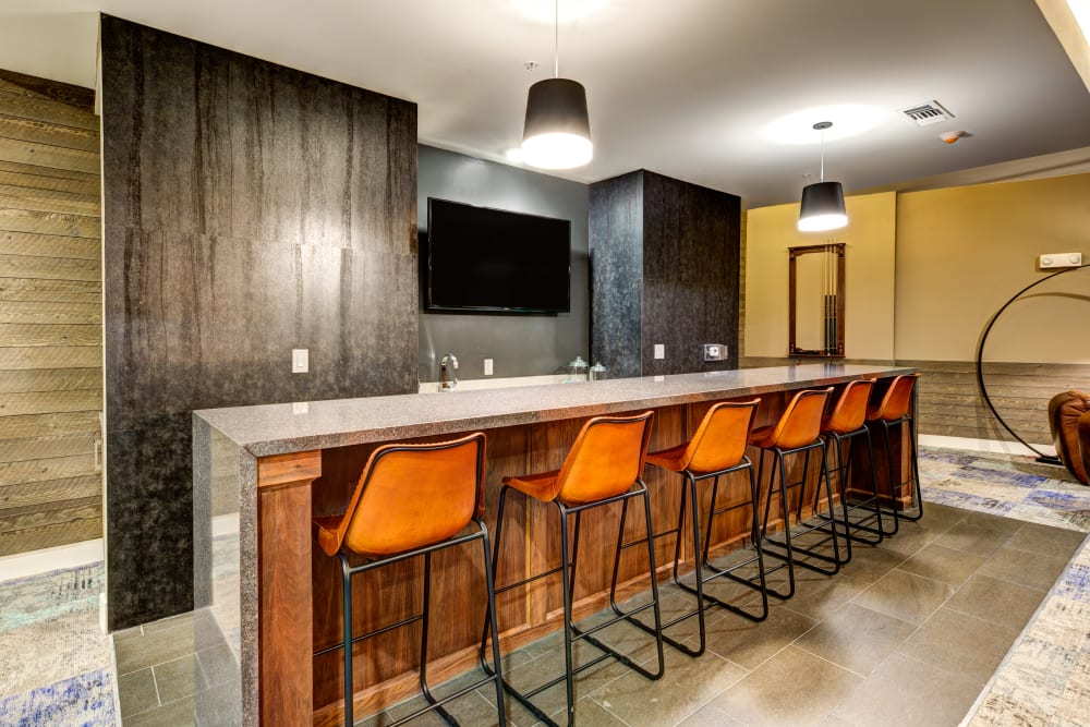 Community kitchen and dining area at Water Marq in Austin, Texas