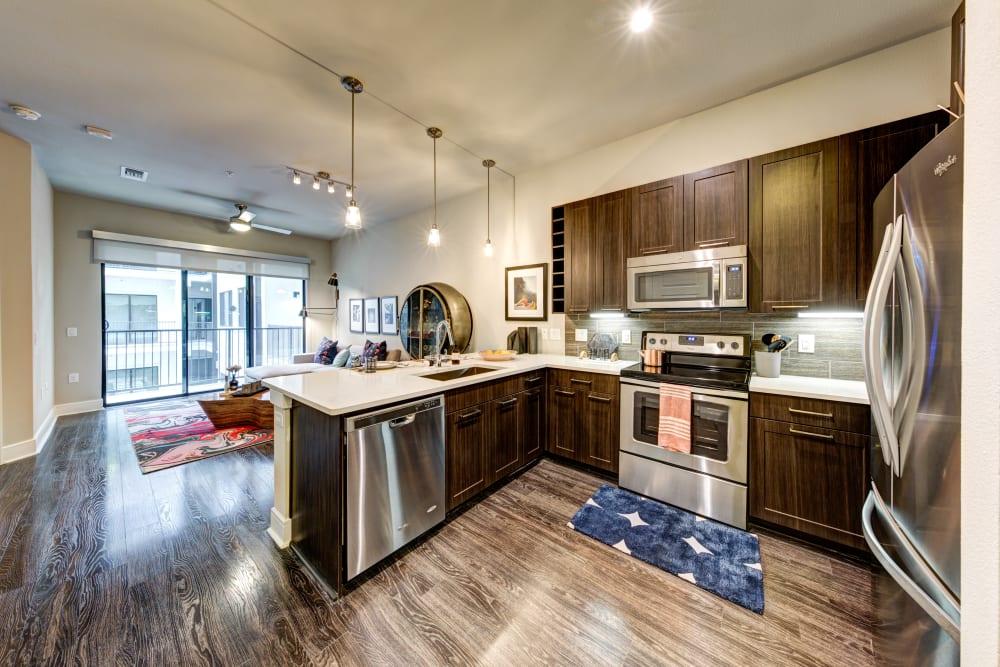 Sleek, modern kitchen at Water Marq in Austin, Texas