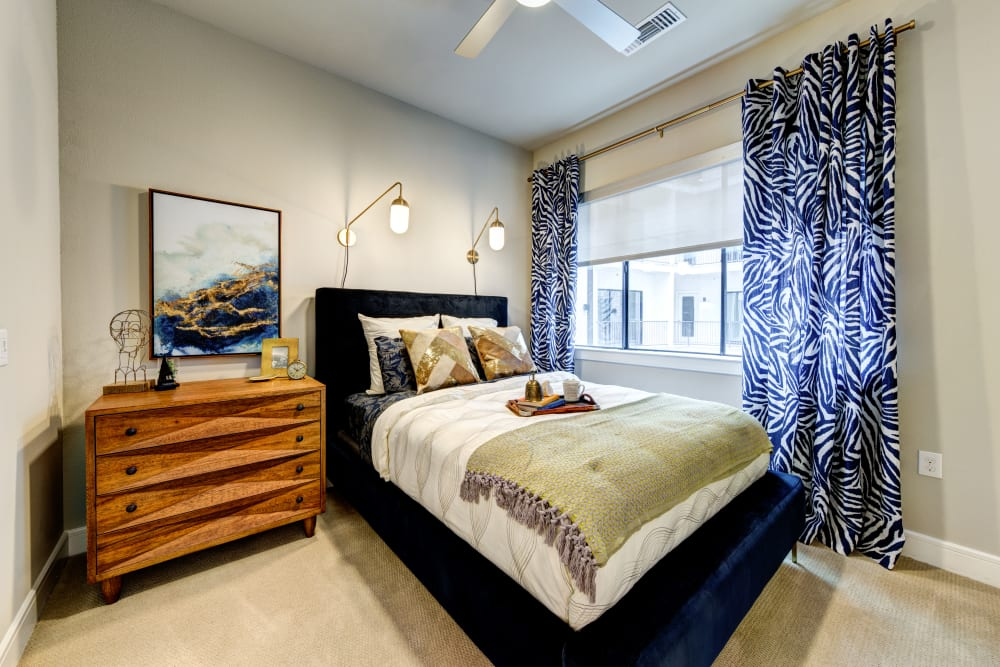 Bright bedroom at Water Marq in Austin, Texas