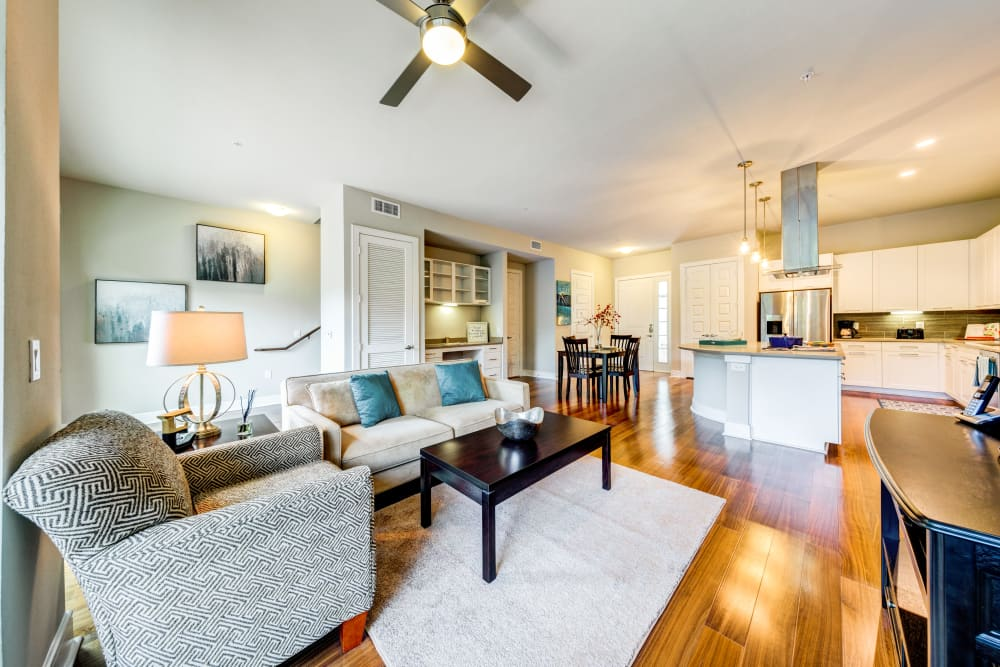 Bright living space at Water Marq in Austin, Texas