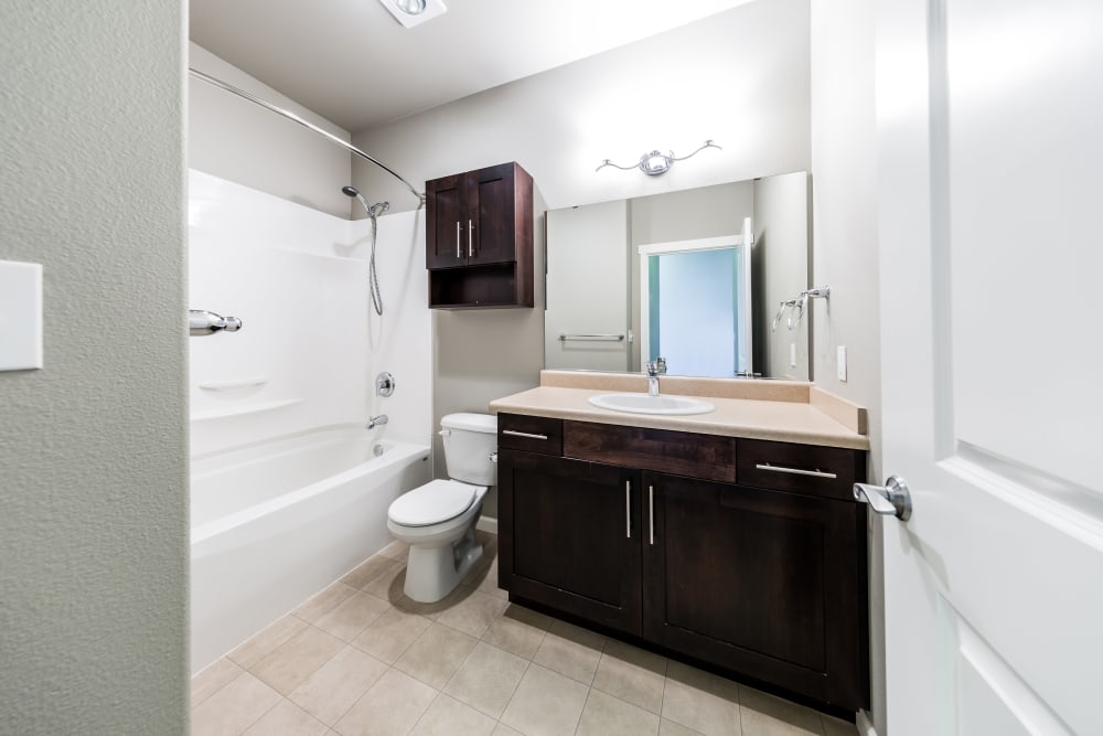 Clean bathroom at Copperline at Point Ruston in Tacoma, Washington