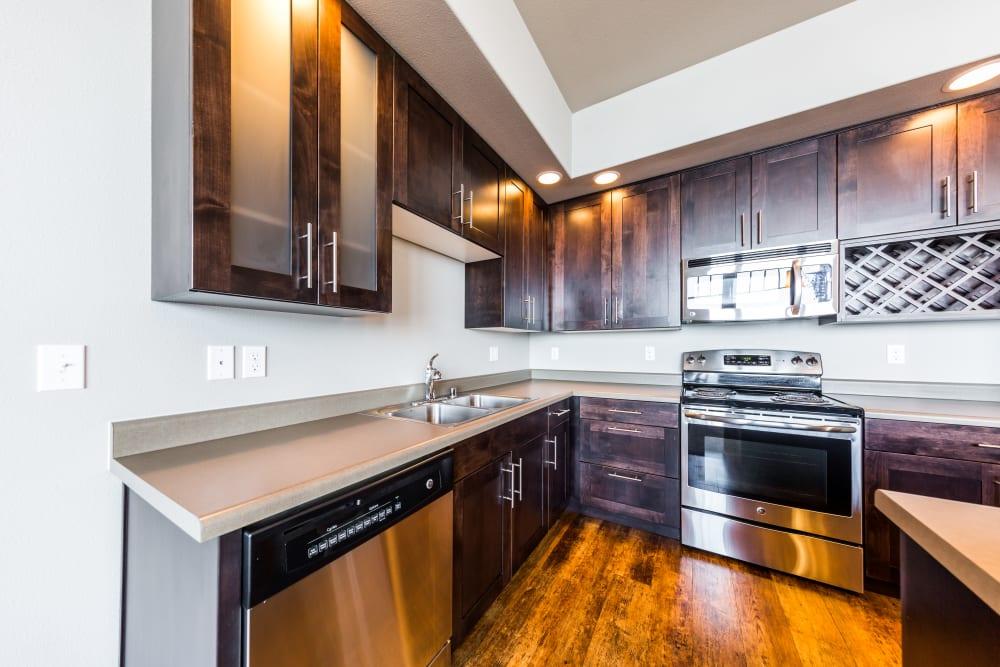 Sleek, modern kitchen at Copperline at Point Ruston in Tacoma, Washington