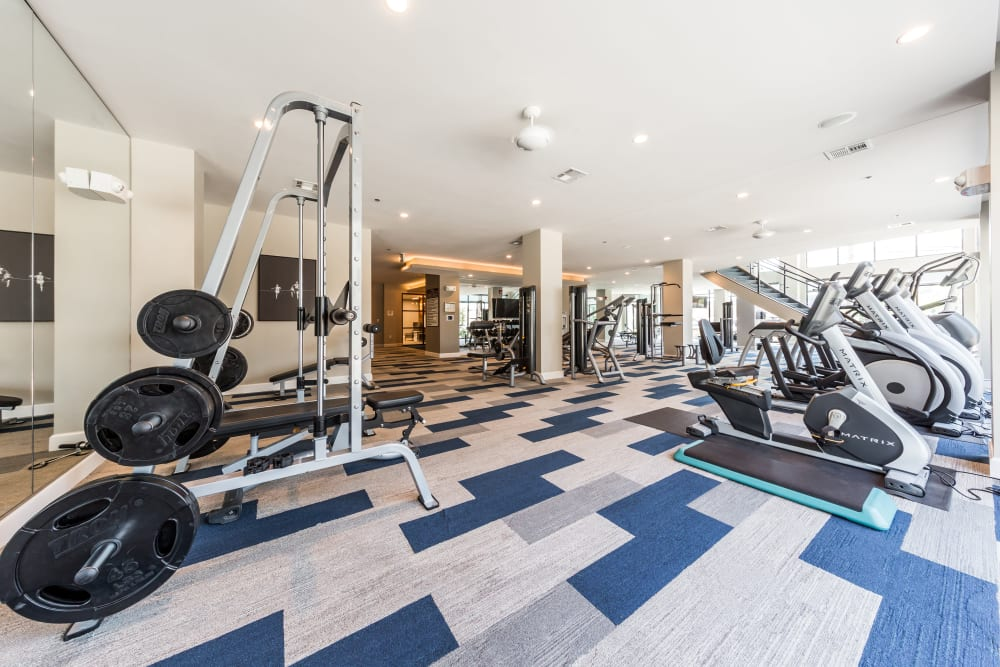 Fully equipped fitness center at Marq 31 in Houston Texas