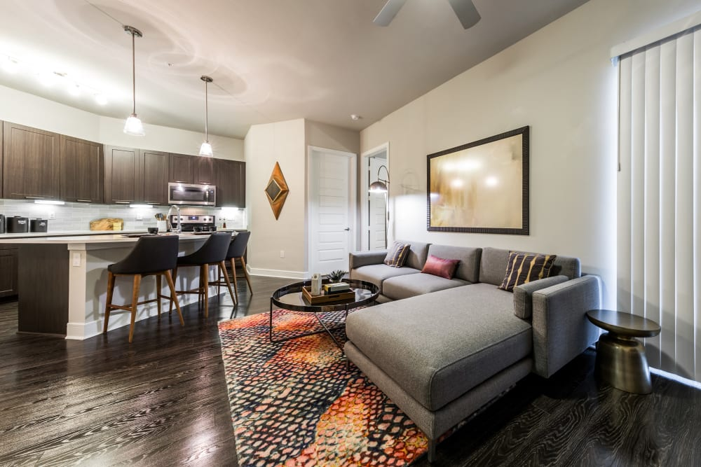 Bright, spacious living room at Marq 31 in Houston, Texas