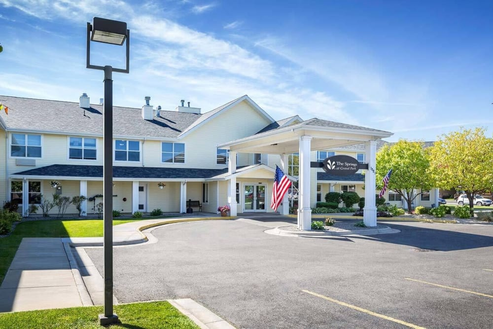 Elegant entryway to upscale senior living facility at The Springs at Grand Park in Billings, Montana