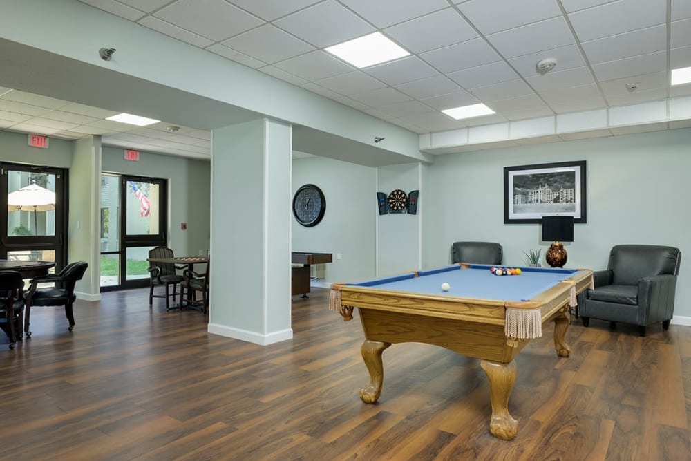 Pool table in activity room at Grand Villa of Clearwater