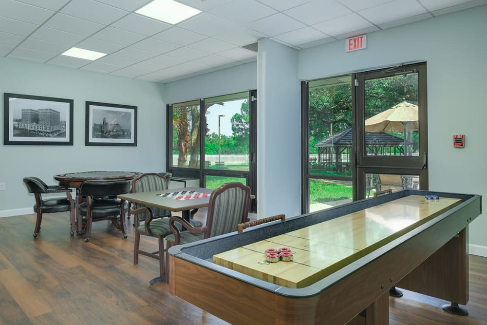 Shuffle board in activity room at Grand Villa of Clearwater