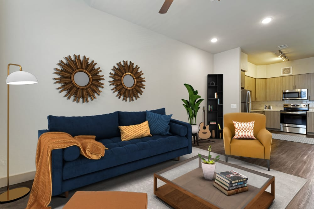Modern decorated and furnished living room at The Guthrie in Austin, Texas