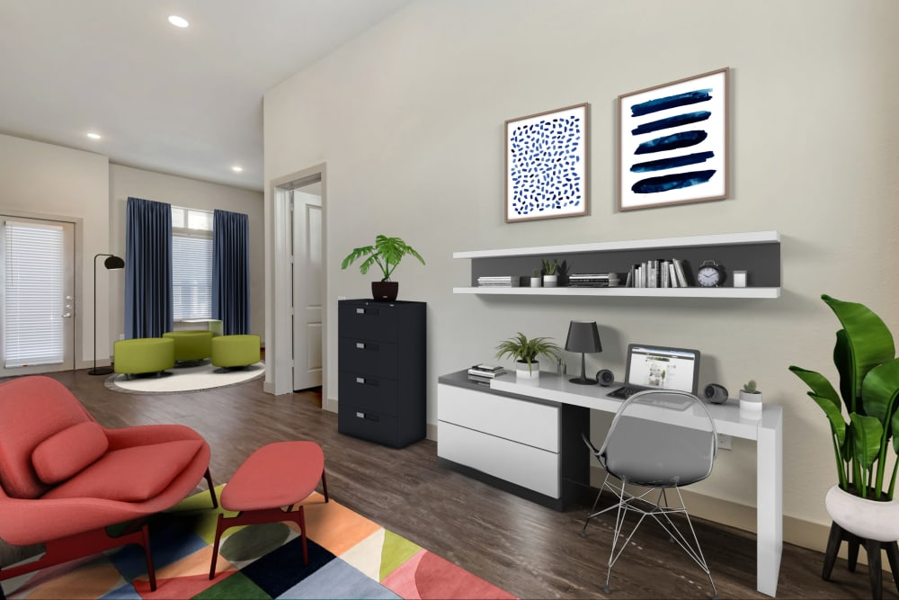 Modern furnished living room at The Guthrie in Austin, Texas