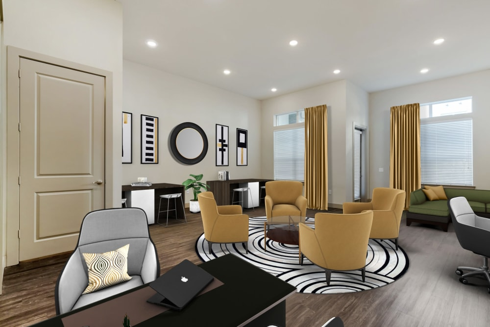 open-concept model home's living room at The Guthrie in Austin, Texas