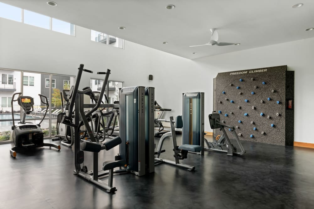 Fitness center with climbing wall at 4600 Ross in Dallas, Texas