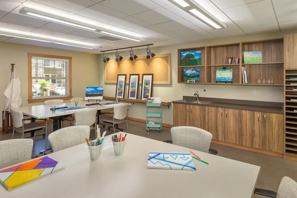Art studio for resident activities at The Springs at Greer Gardens in Eugene, Oregon