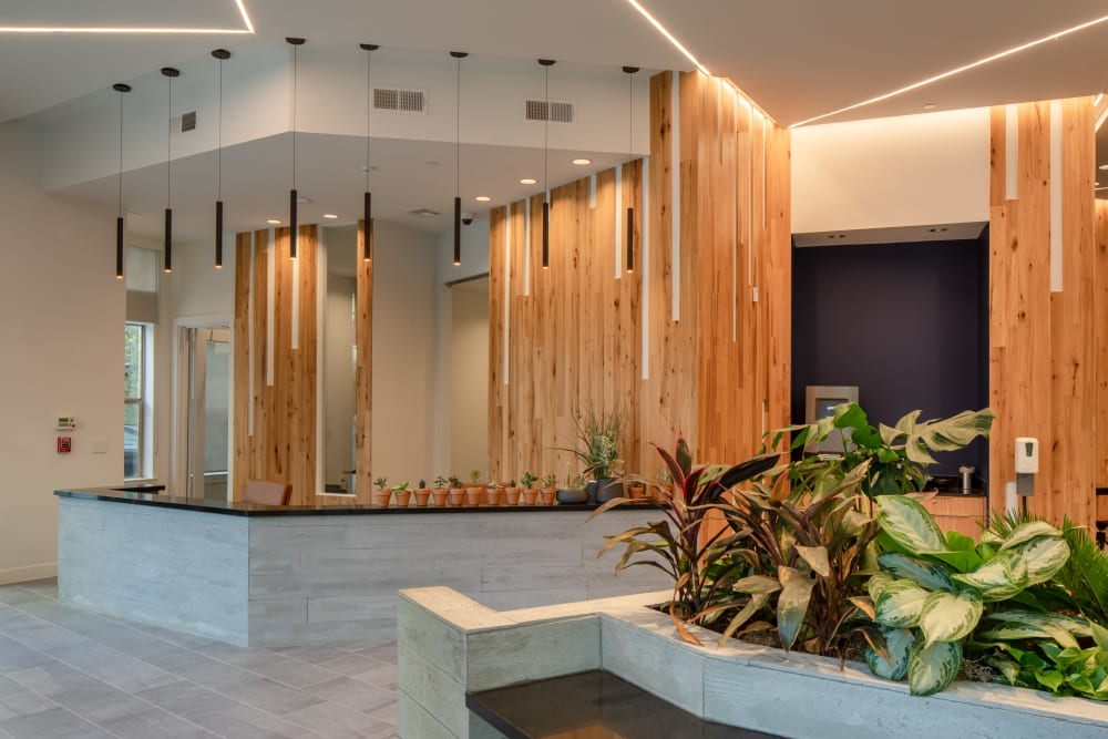Reception area with wood decorations and paneling at  in San Antonio,TX