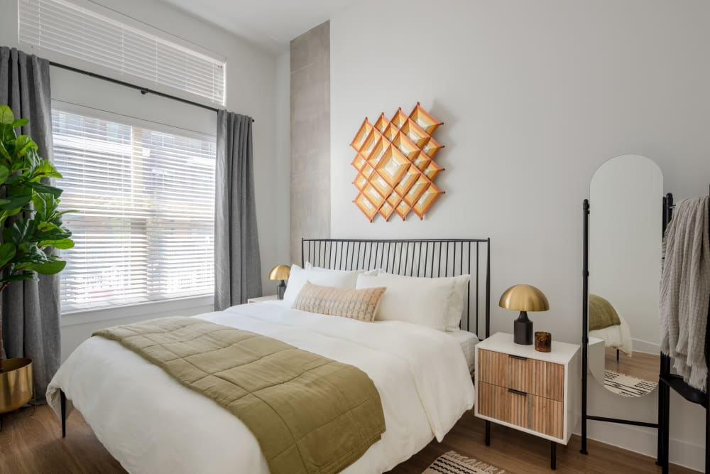 Relaxing primary bedroom with large window at  in San Antonio,TX