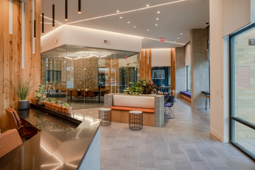 Business center with modern wood finishes at  in San Antonio,TX