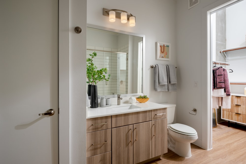Bathroom with wood cabinets at  in San Antonio,TX