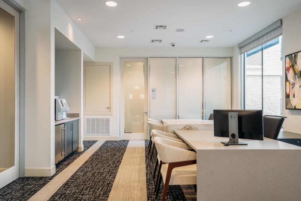 Leasing office with great lighting at Lakeshore Pearl in Austin, Texas