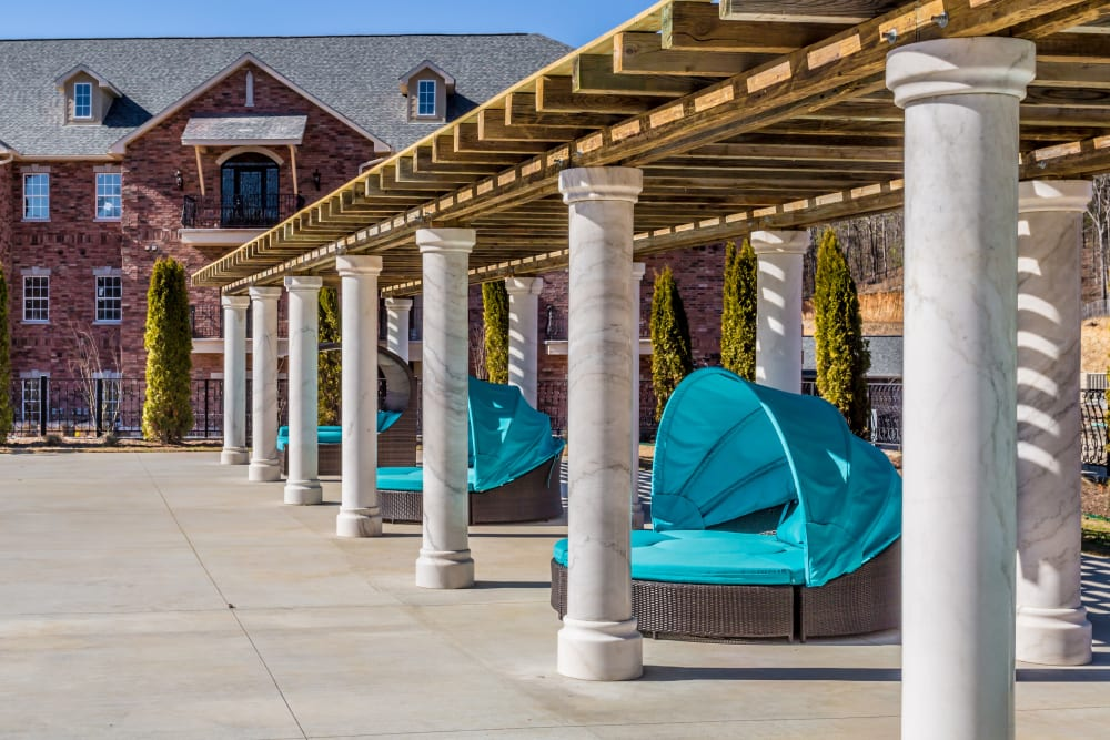 Cabanas by the pool at Arlo Luxury Apartment Homes in Little Rock, Arkansas