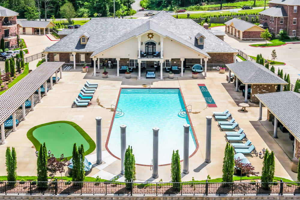 Aerial view of swimming pool and putting green at Arlo Luxury Apartment Homes in Little Rock, Arkansas