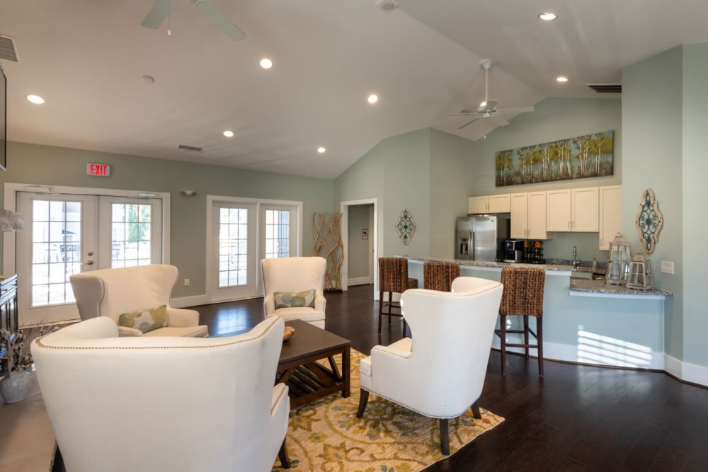 Clubhouse with full kitchen and tons of seating at The Reserve at White Oak in Garner, North Carolina