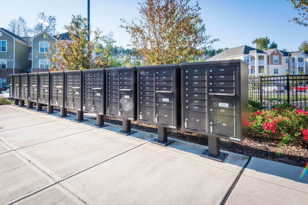 Mail lockers outdoor where residents can safely get mail at The Reserve at White Oak in Garner, North Carolina