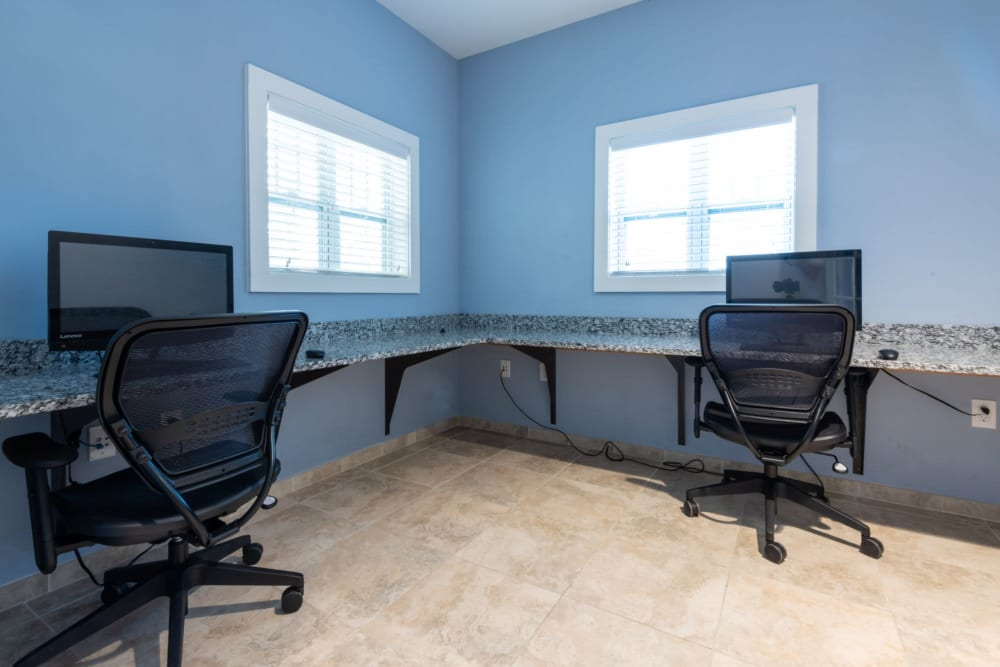 Office area where residents can work in at The Reserve at White Oak in Garner, North Carolina