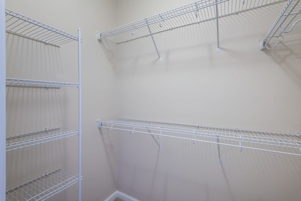 Tons of extra storage space in the walk in closet at The Reserve at White Oak in Garner, North Carolina