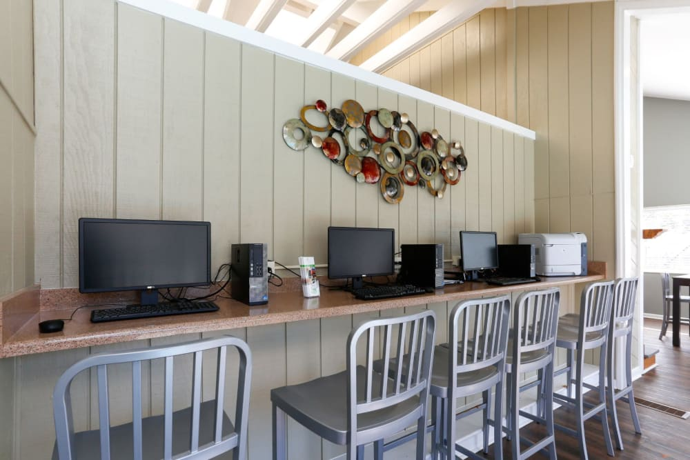 Office area for residents to work in at The Flats at Arrowood in Charlotte, North Carolina