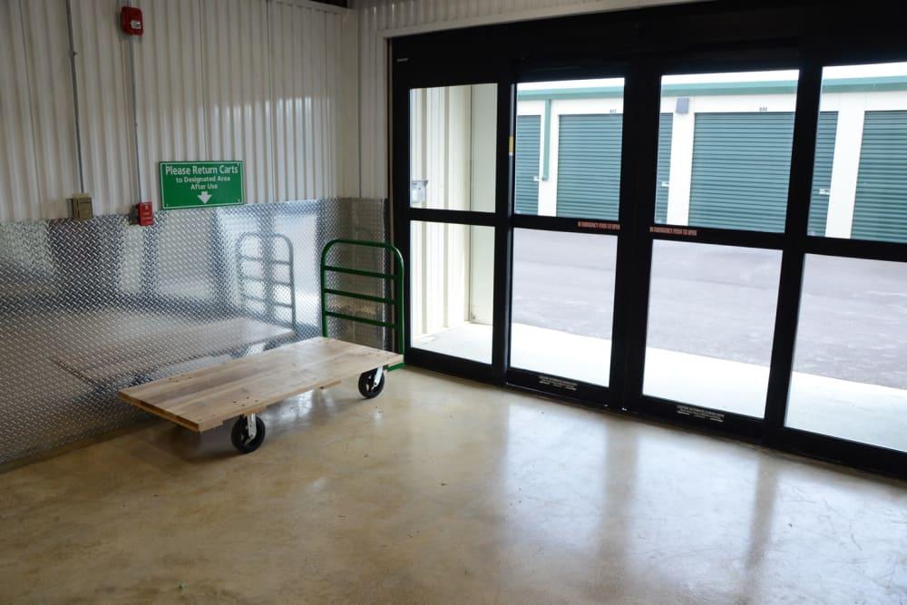 Moving carts next to the doors of Mini Storage Depot in Mason, Ohio