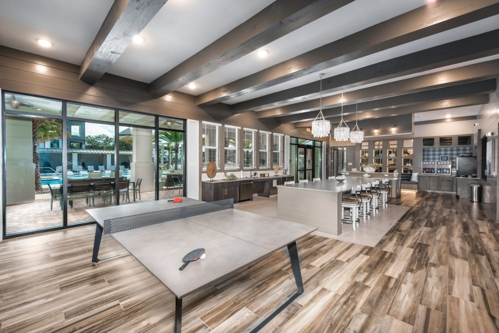 A spacious clubhouse with games for entertaining guests at Olympus Emerald Coast in Destin, Florida