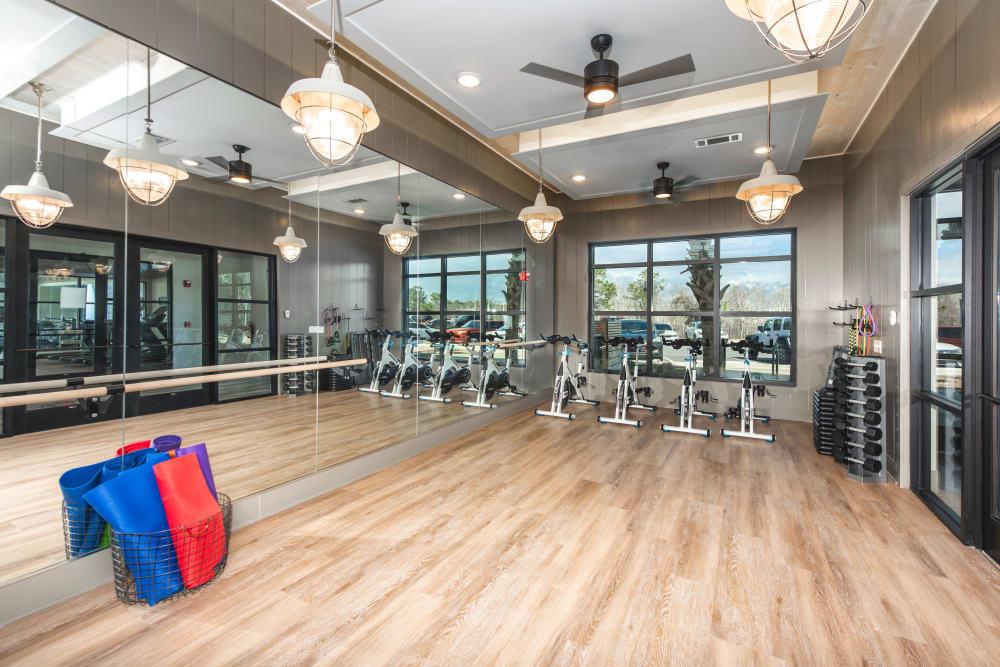 A modern fitness center at Olympus Emerald Coast in Destin, Florida