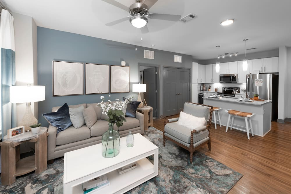 A large living room with space for comfortable seating at Olympus Emerald Coast in Destin, Florida