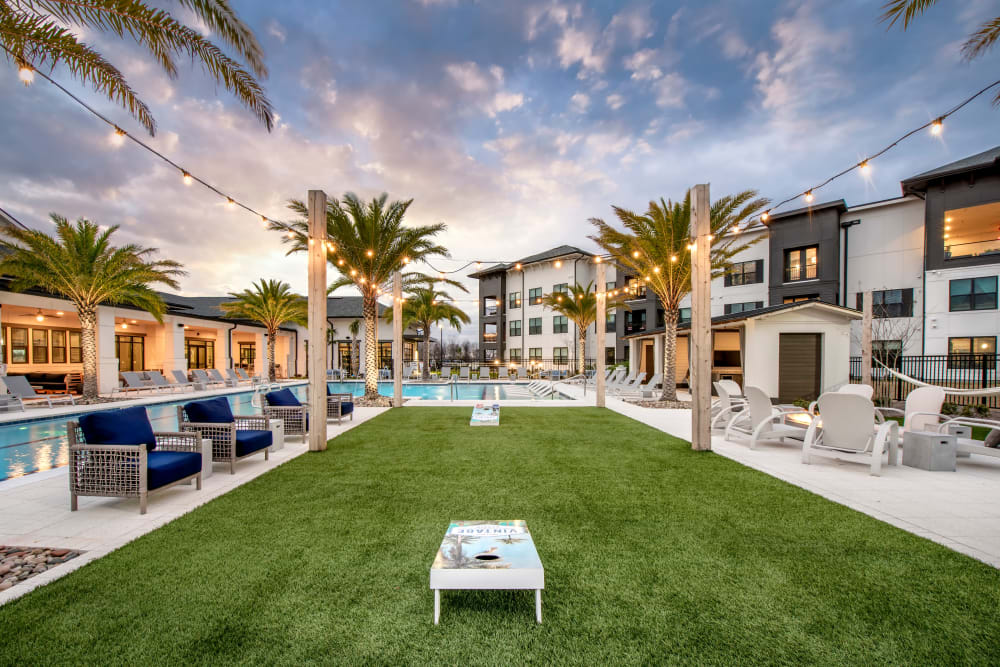 A large grass lawn for outdoor summer games at Olympus Emerald Coast in Destin, Florida
