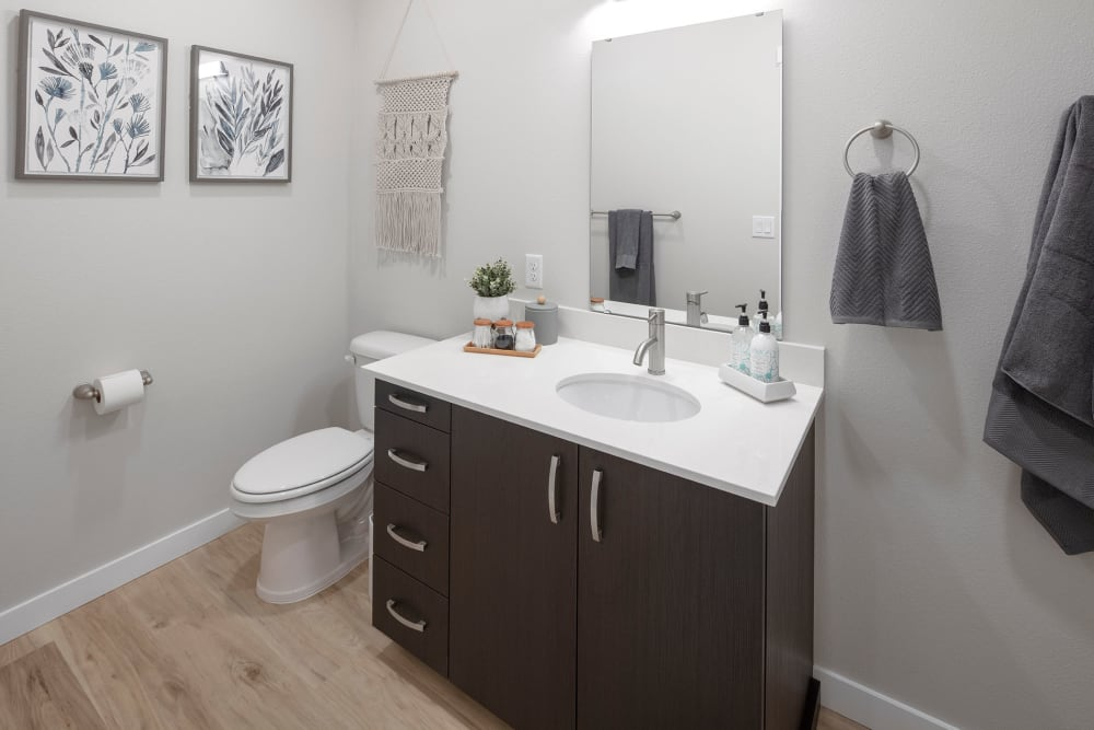 Model bathroom at Brookside Apartments