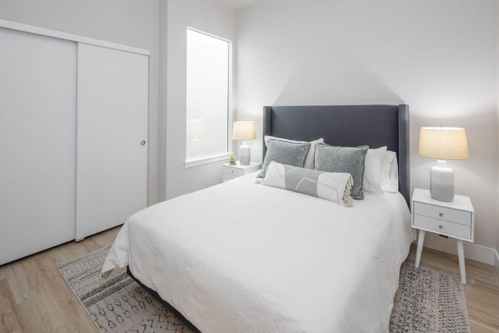 Model bedroom at Brookside Apartments in Gresham, OR