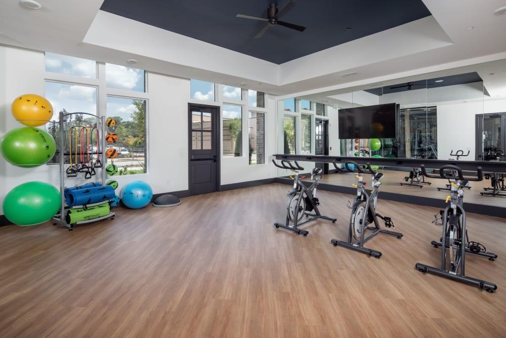 Spacious fitness center at Broadstone Sugar Hill in Sugar Hill, Georgia