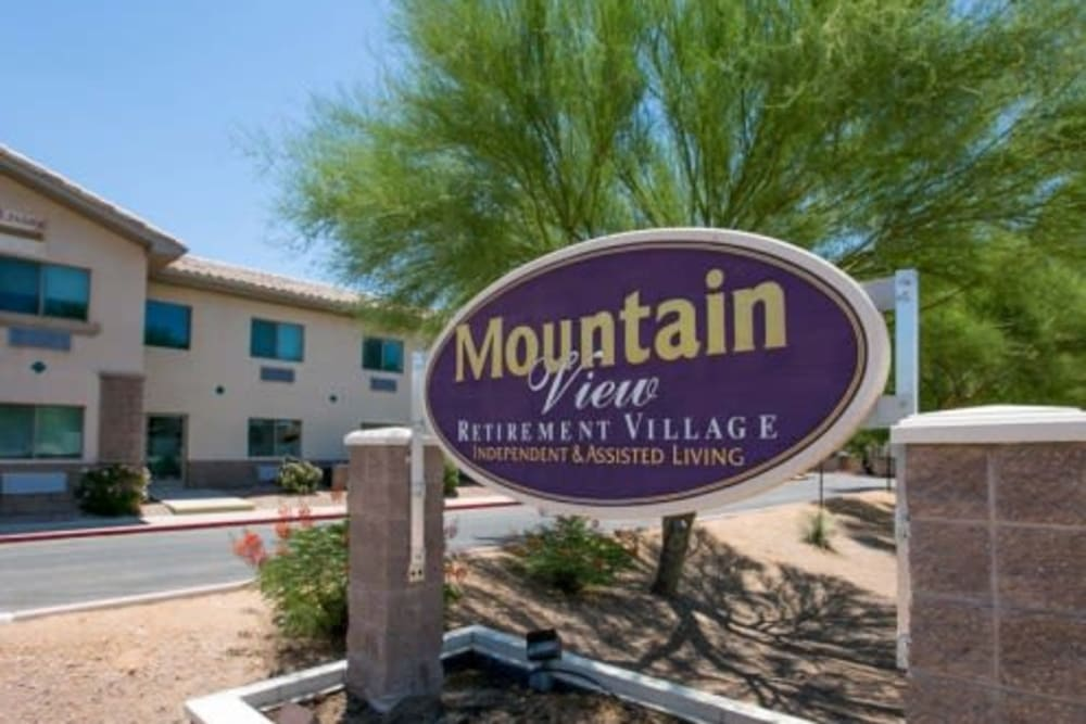 Front sign at Mountain View Retirement Village in Tucson, Arizona
