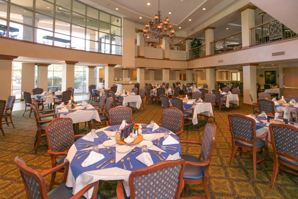 Dining hall at Mountain View Retirement Village in Tucson, Arizona