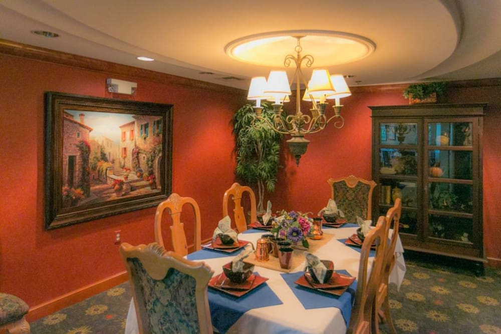 Beautiful dining room at Mountain View Retirement Village in Tucson, Arizona