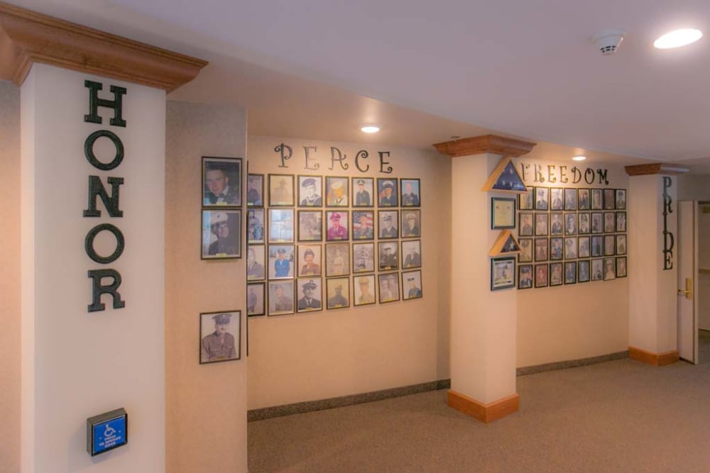 Honor wall at Mountain View Retirement Village in Tucson, Arizona